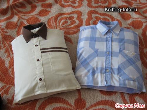 Подушка из старой рубашки