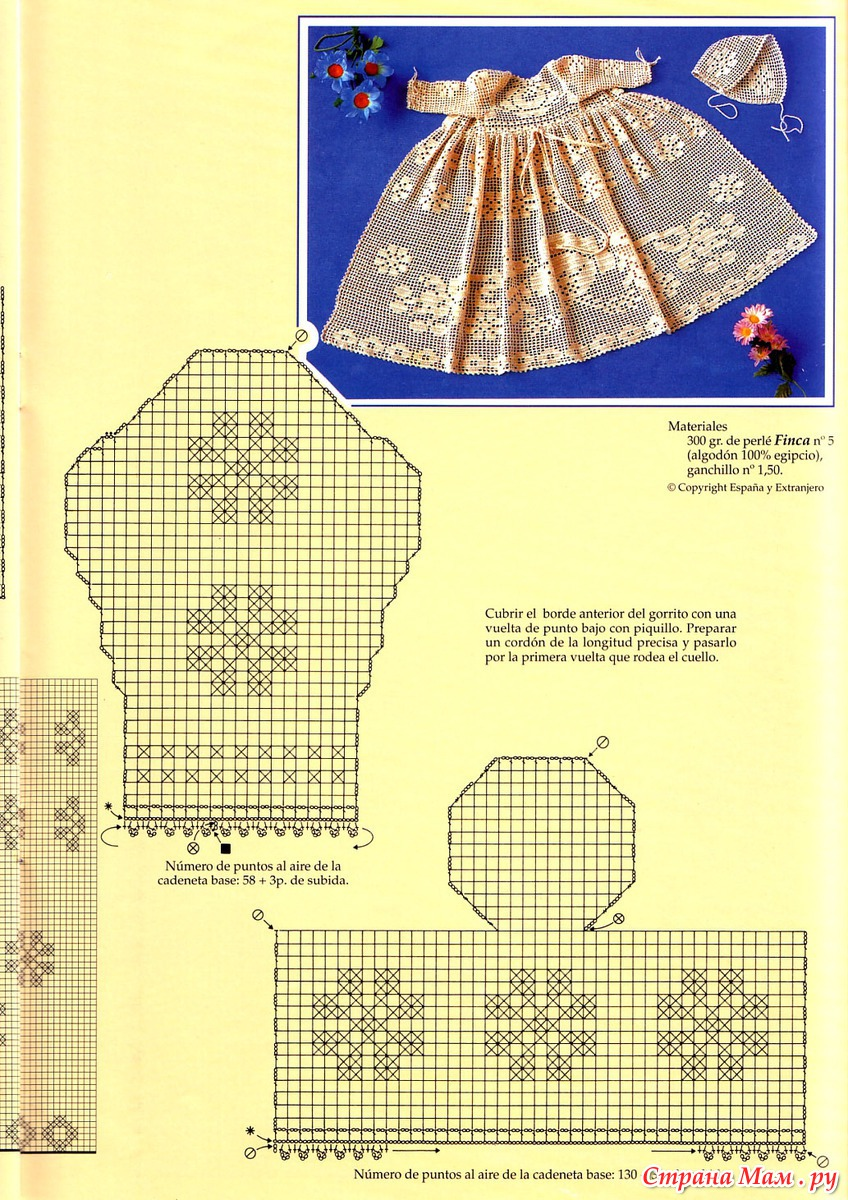 Платья для девочки филейное вязание крючком схемы