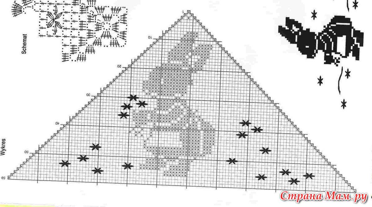 Схема филейного вязания звери