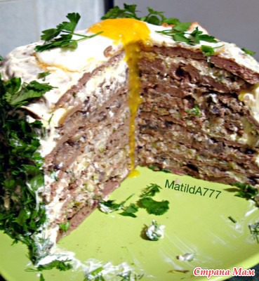 Торт печеночный с чесноком рецепт с пошагово