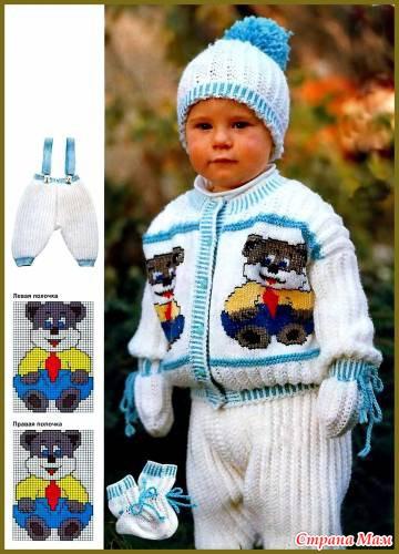 Вязание спицами для детей костюмы для мальчиков 1 год