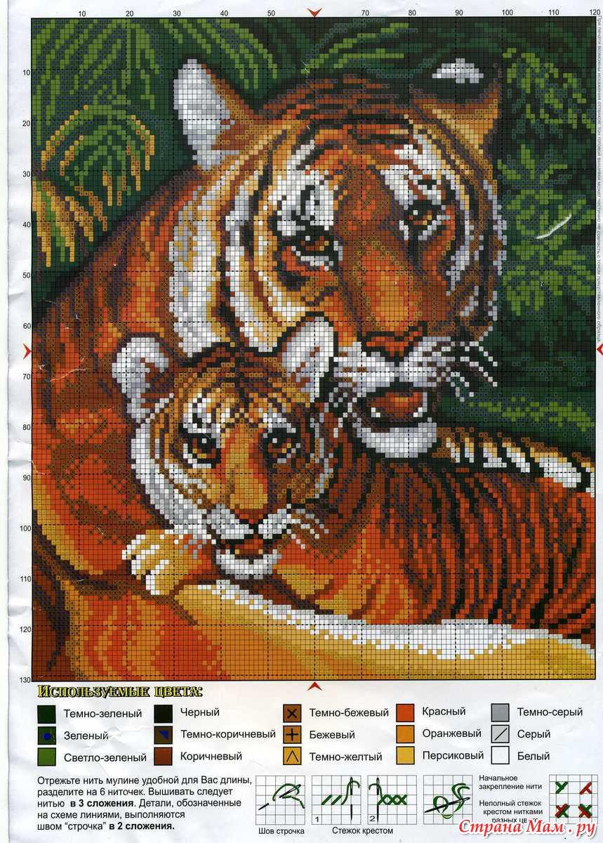 Схему вышивка крестом тигры 14