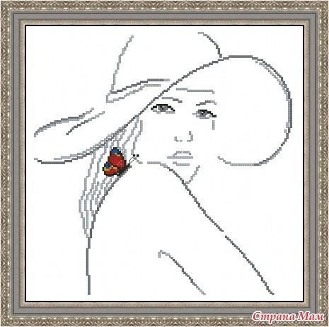 Черно белая вышивка крестом женщина схемы 18