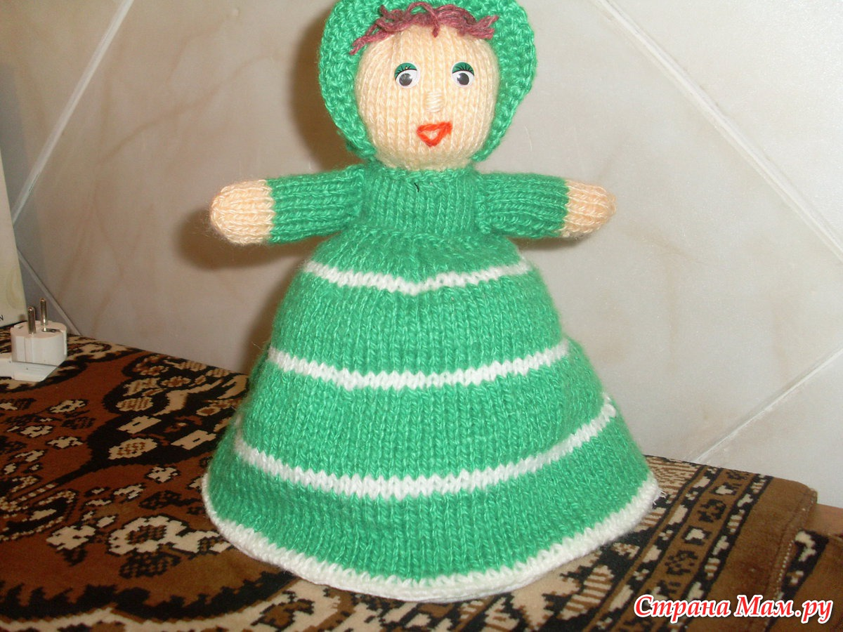 Вязаная кукла грелка на чайник своими руками 91