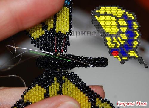 Плетение бабочки из бисера фото