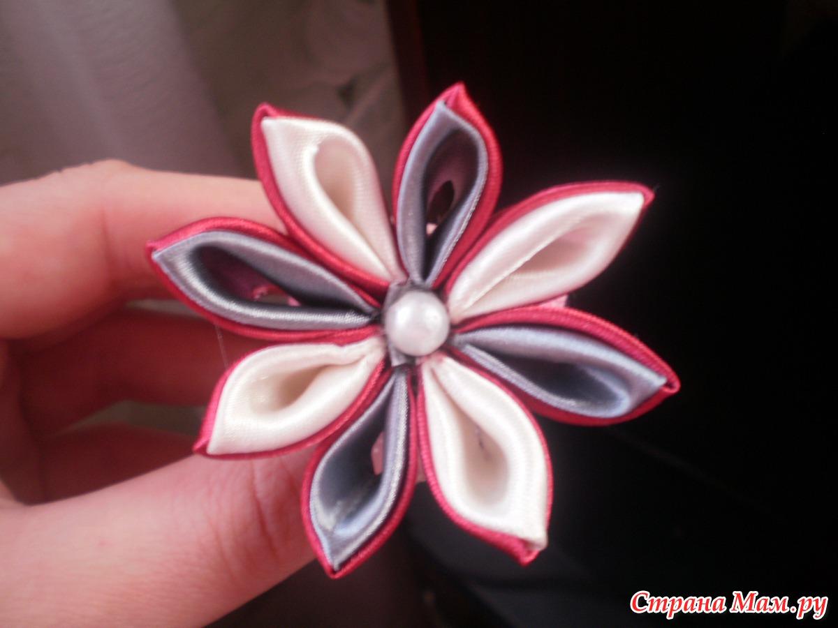Как сделать цветы канзаши из ткани своими руками 99