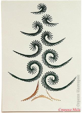 Вышивка на картоне нитками елка 7