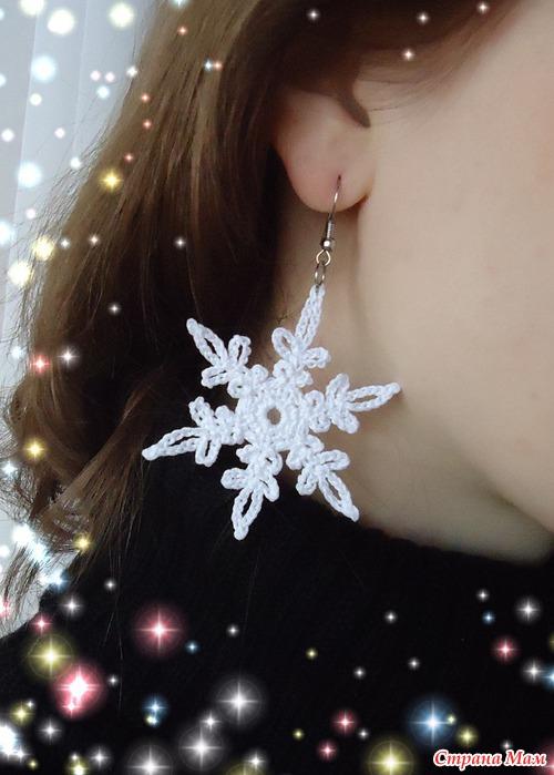Серёжки снежинки схемы
