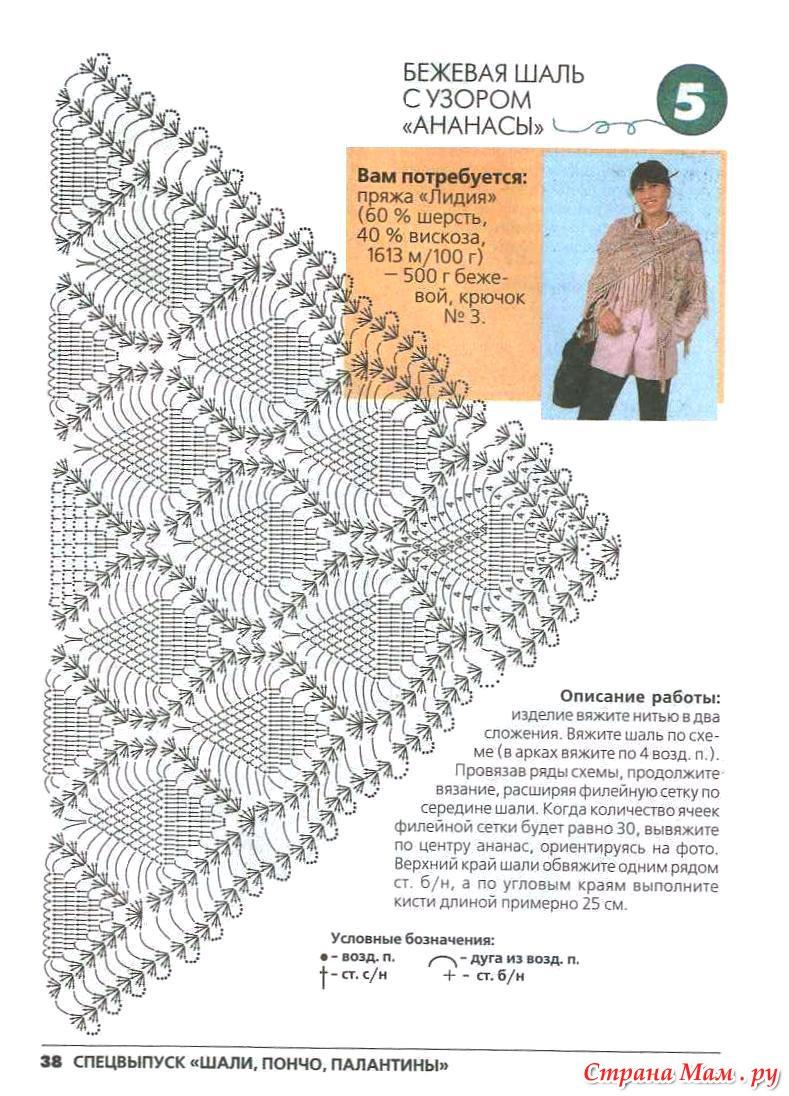 Подробная схема вязания шали из ананасов