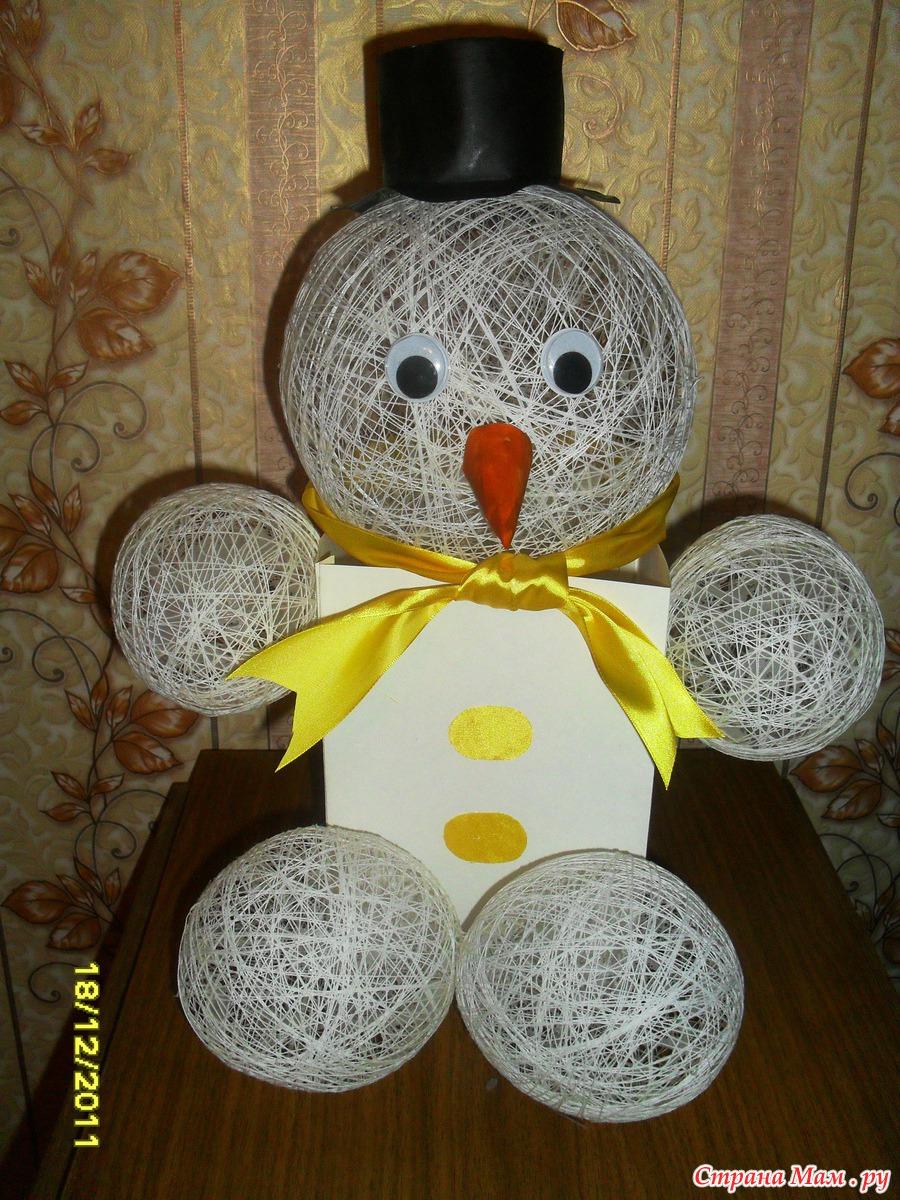Снеговик поделка в детский сад из ниток 134