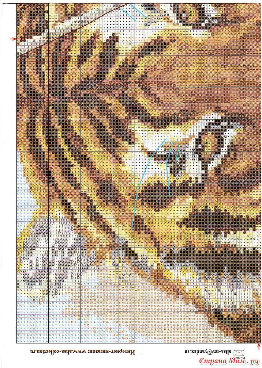 Схема вышивки диких кошек