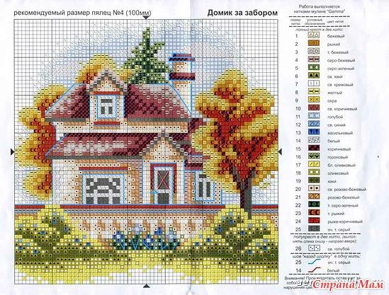 Вышивания крестиком домики
