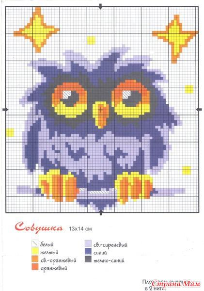 Схема вышивки крестом сова на горшке 84
