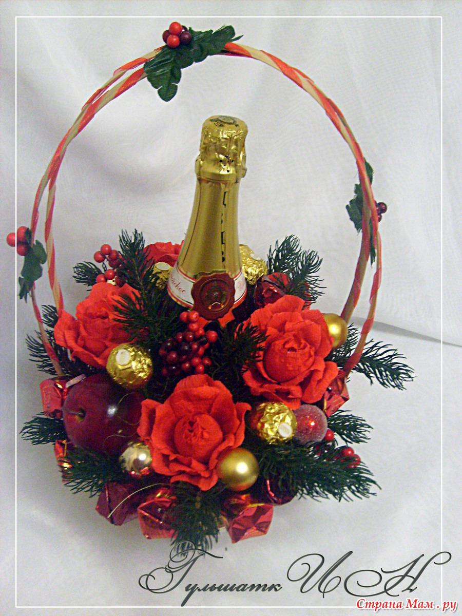 Новогодние корзины с цветами из конфет своими руками