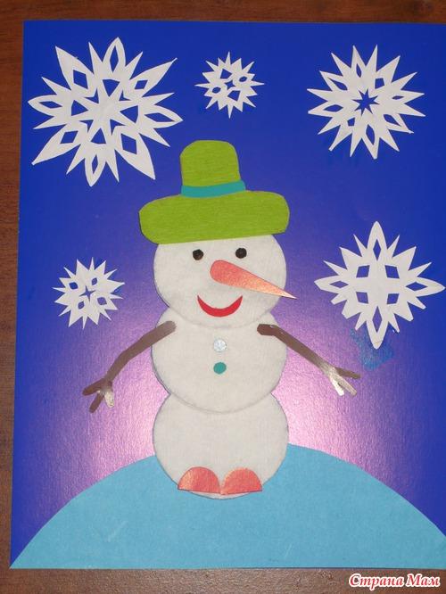 Снеговик из цветной бумаги своими руками аппликация 3