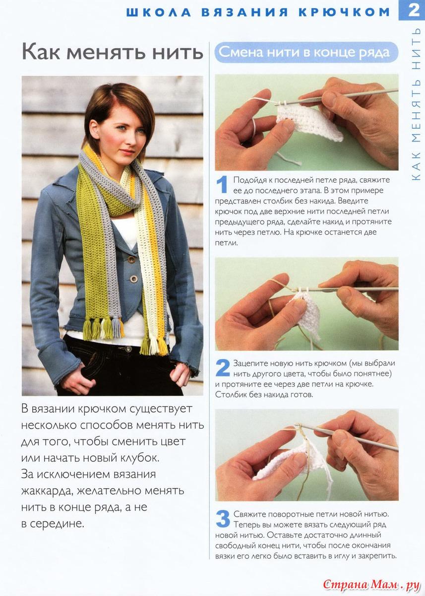 Добавление новой нити в вязании