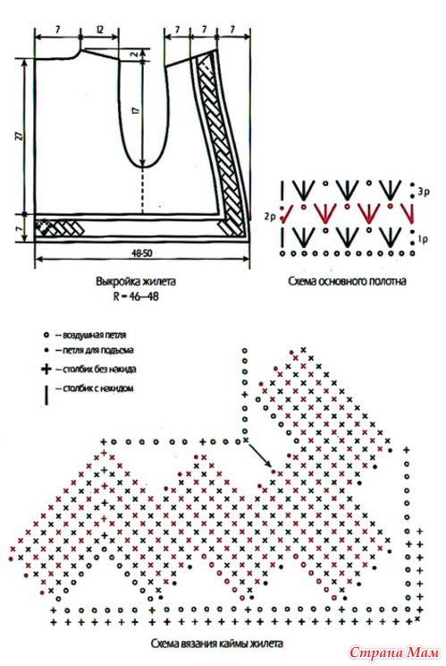 Схемы вязания жилет из мохера спицами