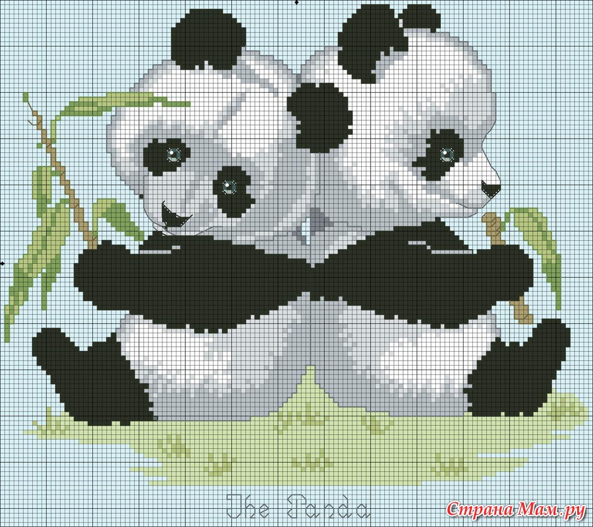 Схема панды в вязании 546