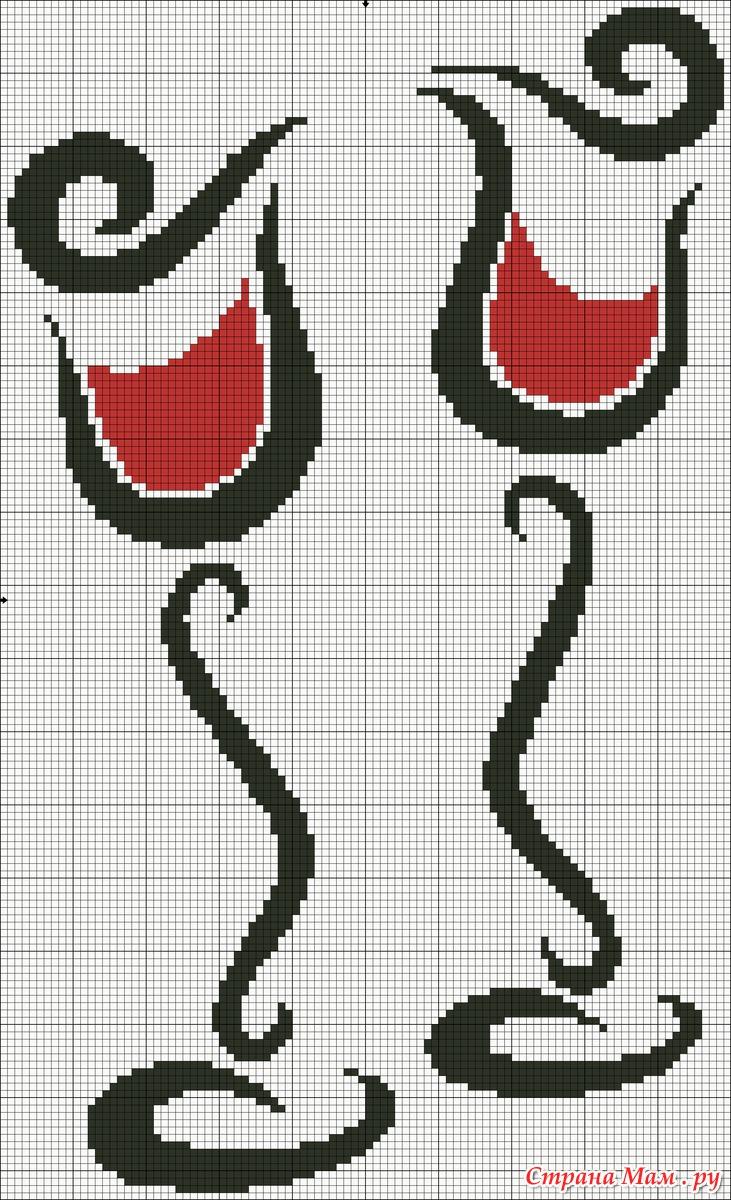 Схемы для вышивки крестом бокалы 6