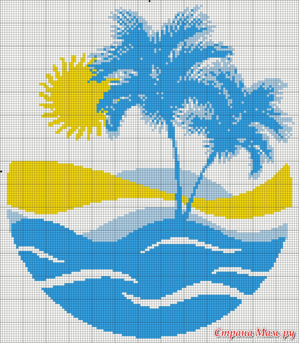Вышивка крестом пальма и море