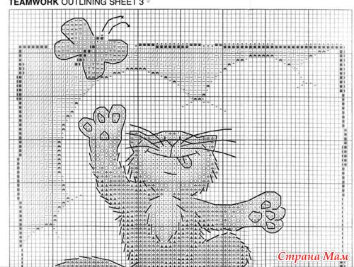Вышивка гладью схема котик 15