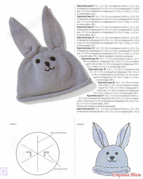 Детская шапочка-зайчик