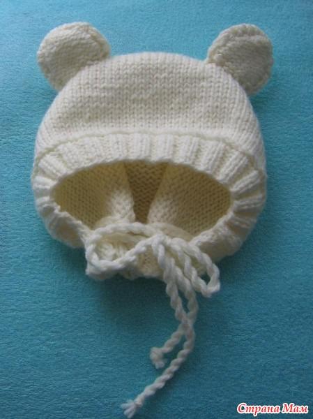 Анатомическая шапочка для новорожденного спицами