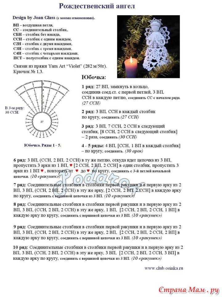 Ангел крючком, более 30 схем вязания со схемами и видео 43