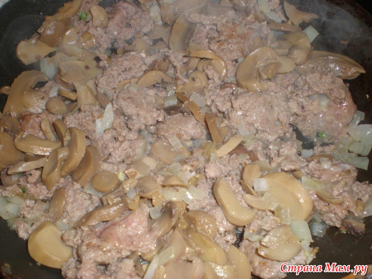 Грибы жареные с фаршем на сковороде рецепт пошаговый