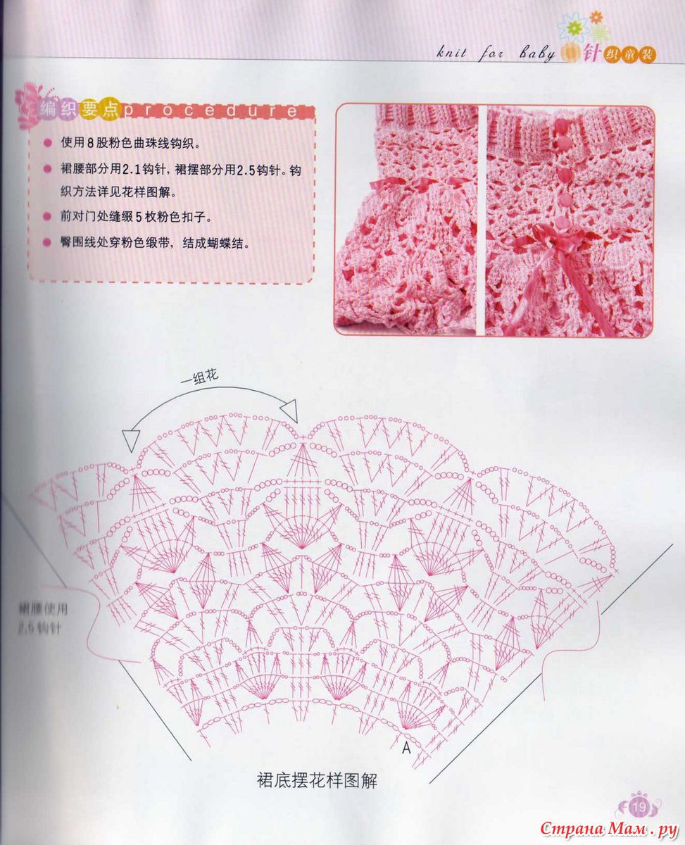Фото и схемы вязания крючком детской юбки