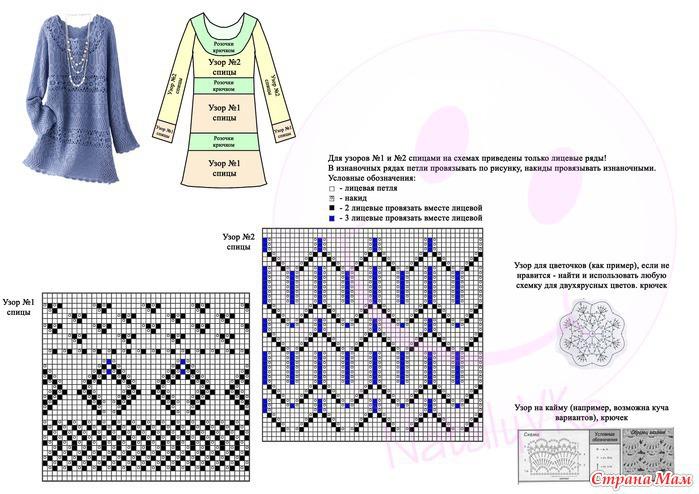 Вязанные платья на машине со схемами и описанием