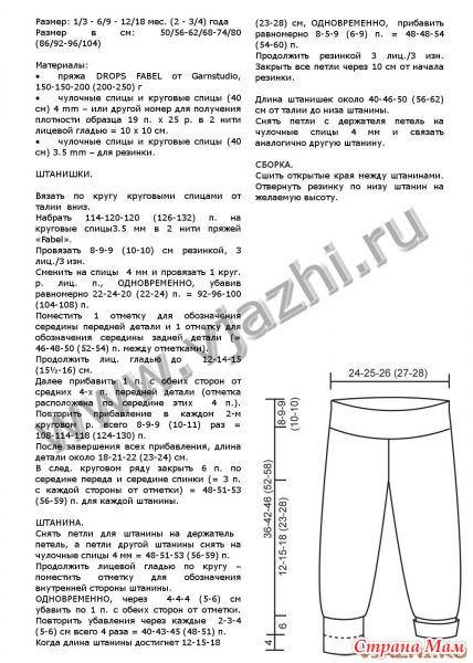 Схема вязания детских штанишек на 2 года спицами