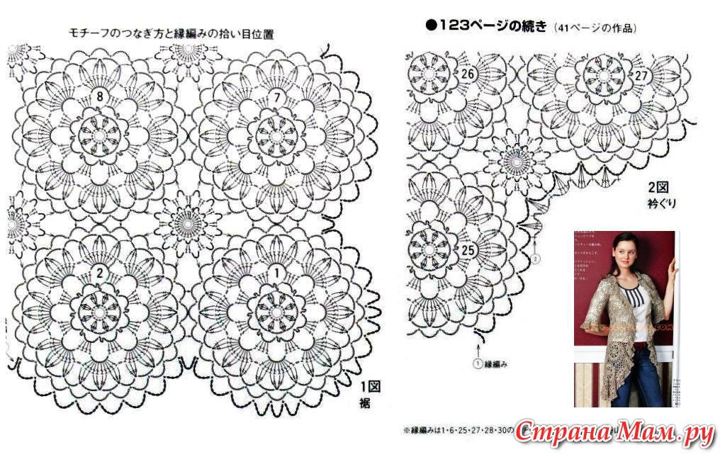 Жакет из круглых мотивов крючком схемы и описание