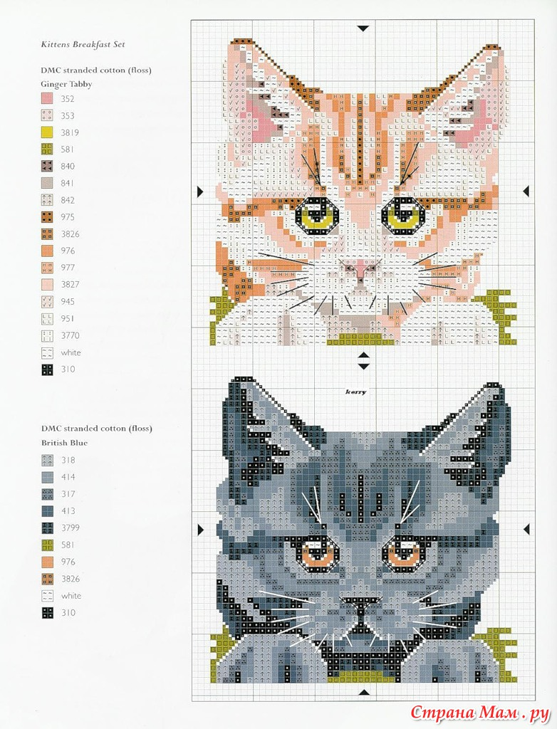 Вышивка гладью схема котик 11