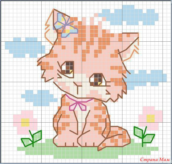 Вышивка крестом котенок для начинающих 88