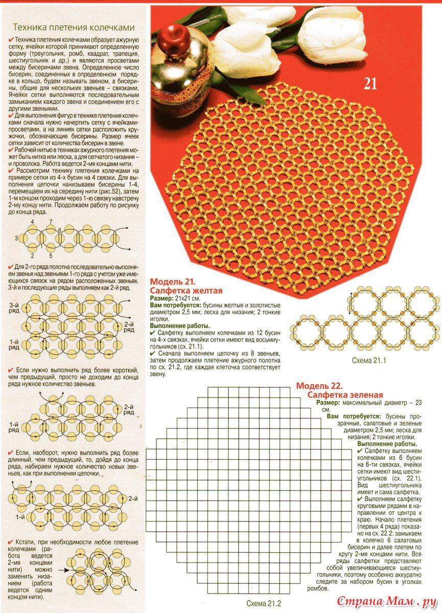 Салфетки из бисера схемы мастер класс для начинающих