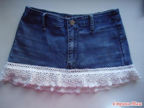 Юбки крючком к джинсам