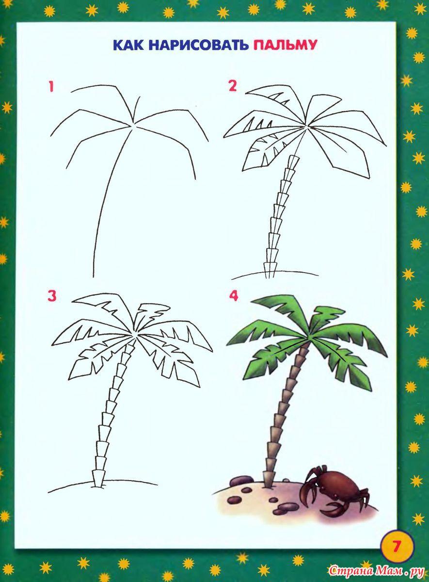 Как поэтапно рисовать пальму