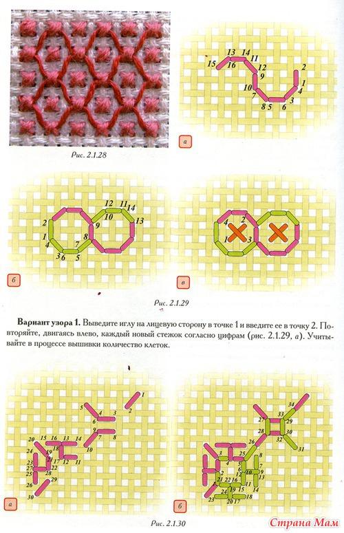 Швы для вышивки на канве 69