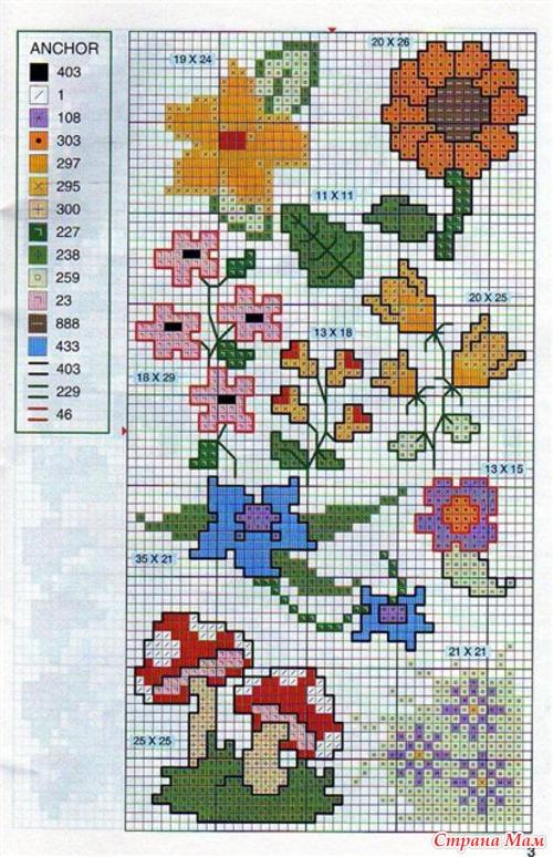 орнаменты для вязания цветы