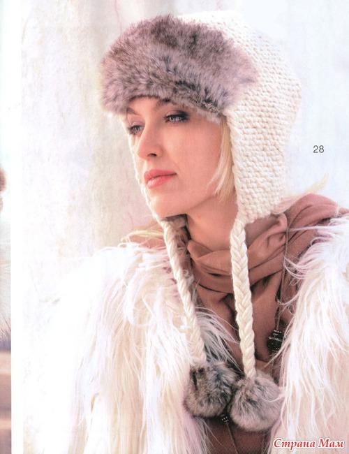 Схема вязания шапки ушанки.
