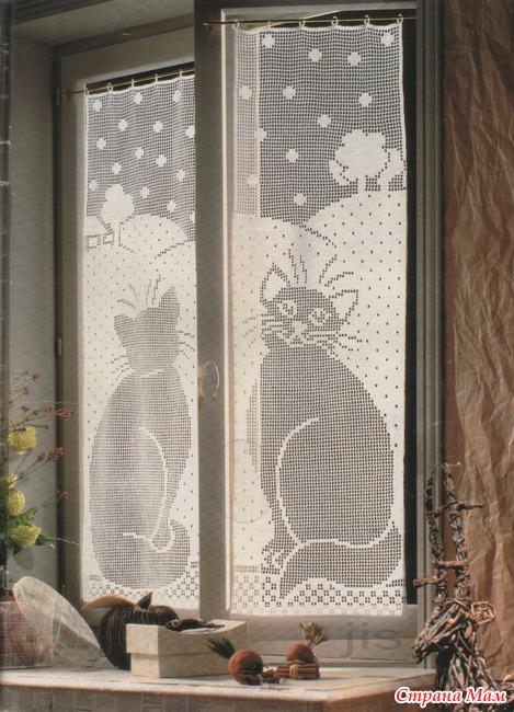 Схема шторки с кошками