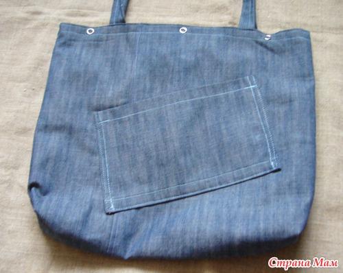 Пляжная сумка (из старых джинсов) .