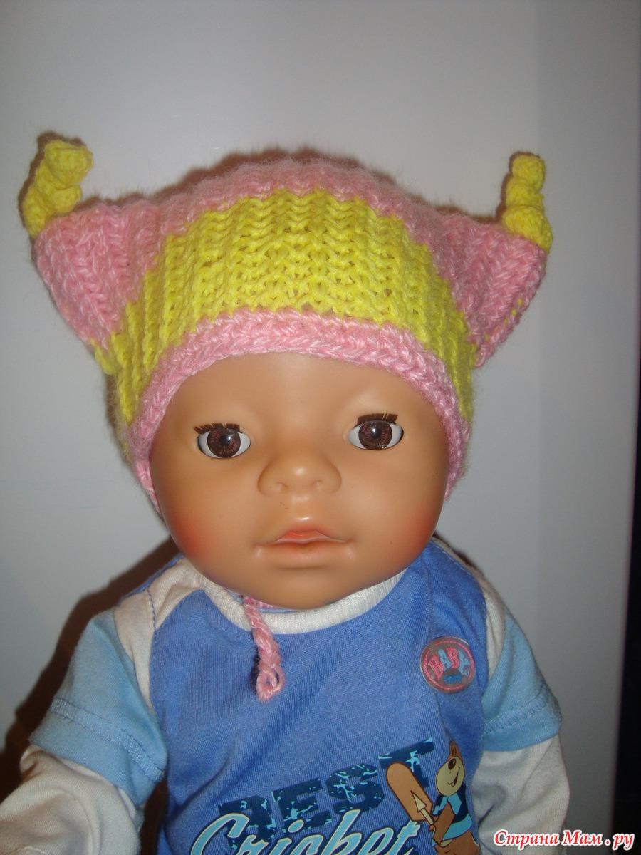 Связать берет на куклу 107