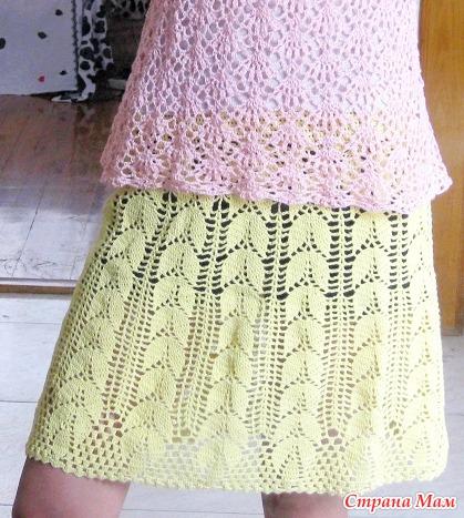 Красивые узоры крючком юбки