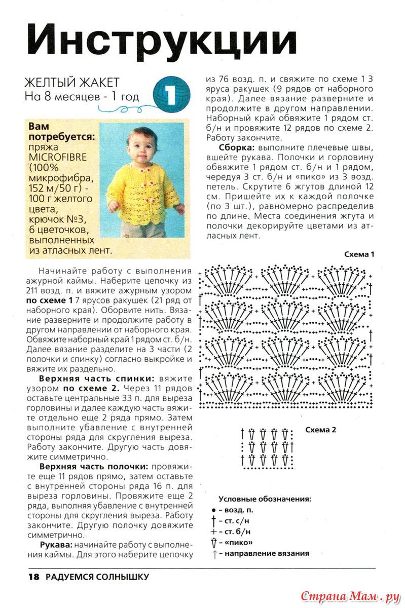 Вязание для детей от 0 до 3 лет с описанием и схемами крючком для мальчика
