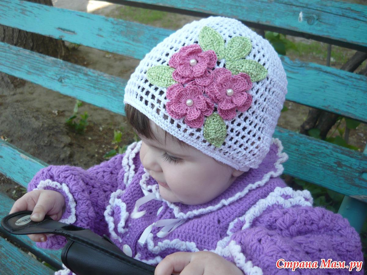Шапочки для детей вязаные крючком фото и