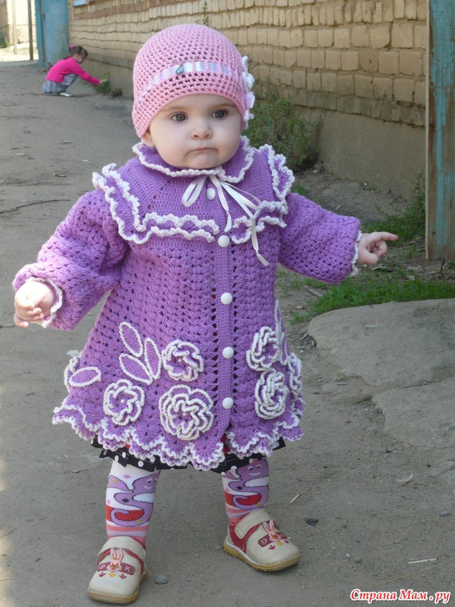 Страна мам вязание пальто для девочки 37