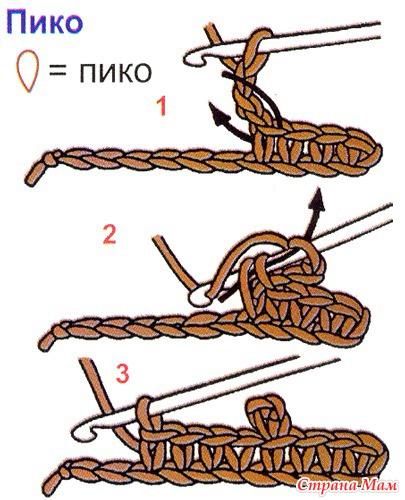 Пико из 3 воздушных петель в вязании крючком