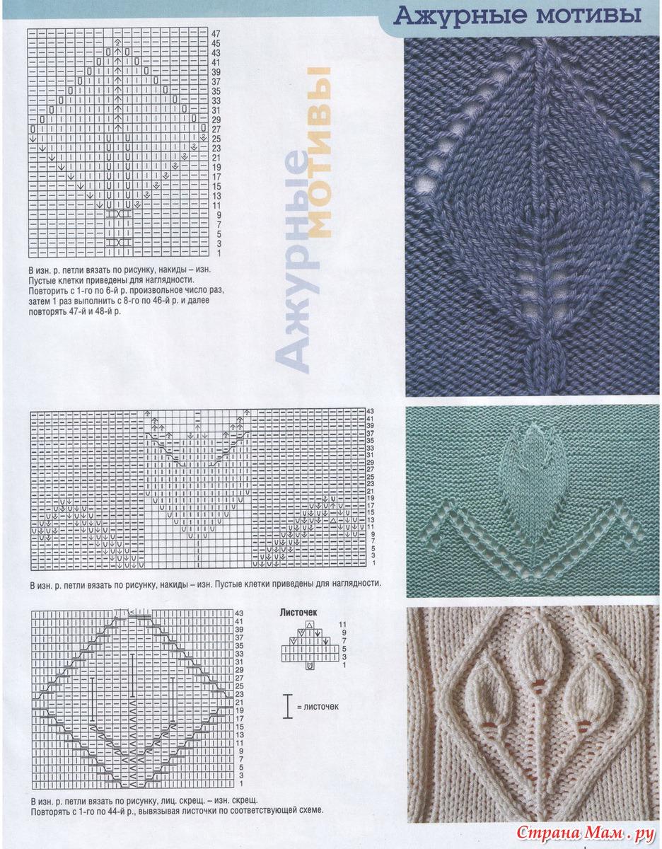 Вязаные мотивы спицами со схемами фото